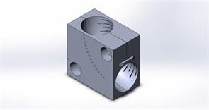 Приспособление (струбцина) для фиксации отвода Ø45 в тисках ленточнопильного станка